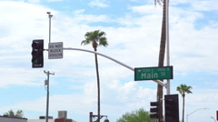 Main street sign shot against the blue sky in Scottsdale Arizona. Stock Footage