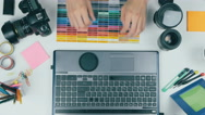 Creative background. Man works at the computer Stock Footage