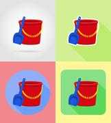 Baby toys and accessories flat icons illustration Stock Illustration