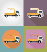 Truck with a small crane for construction flat icons illustration Stock Illustration