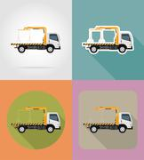 Tow truck for transportation faults and emergency cars flat icons illustratio Stock Illustration