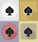 Spade card suit casino flat icons illustration Stock Illustration