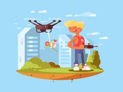 Delivery using quadrocopters Stock Illustration