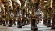 Military Marching of Soldiers in the City in close-up Stock Footage