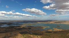Lake from alqueva dam Alentejo Portugal aerial view 4k Stock Footage