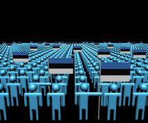 Crowd of abstract people with many Estonian flags illustration Stock Illustration