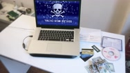 Computer Hacker Cybercrime, Stolen Credit Cards And Money Stock Footage