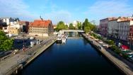 Polska, Bydgoszcz, Brda ,fara bydgoska, stare miasto Stock Footage