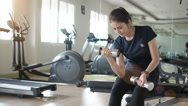 Slow motion Weights training, Asian woman in fitness gym lifting weights. Stock Footage