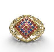 Ring with diamonds. Diamond pave. 3D illustration Piirros