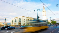 Ferry Building Front Zoom Out 30fps 4k Time-lapse San Francisco Embarcadero Stock Footage