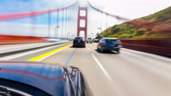 POV Hyperlapse Marin To San Francisco Driving Over Golden Gate Bridge Outside Stock Footage
