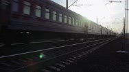 Train Passes By Railway At Sunset Stock Footage