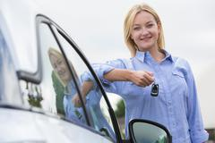 Young Female Driver Holding Car Keys Next To Vehicle Stock Photos