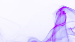 Curly wave of purple smoke white background (soft) - abstract motion background Stock Footage