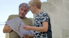 married couple argues happily consulting the map Stock Footage