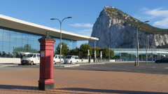Gibraltar International Airport with Post Box Stock Footage