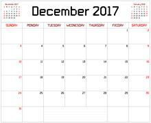 Year 2017 December Planner Stock Illustration