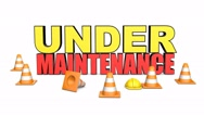 3d rendered animation of under maintenance text with traffic cones Stock Footage
