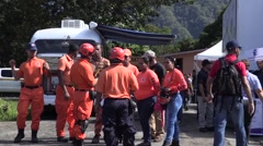 Panamanian employees of COCLE gather together outside Stock Footage