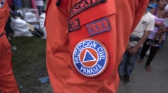 Civil Protection uniforms bearing the patch of panama Stock Footage