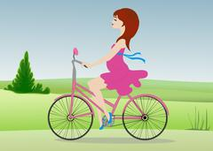 Pregnant woman  rides a Bicycle across the field Stock Illustration
