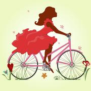 A young girl in a red dress rides a Bicycle. Vector illustration. Square Stock Illustration