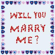 Marriage proposal  in a frame of hearts on a blue background Stock Illustration