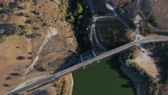 River hydroelectric dam aerial shot 4k Stock Footage
