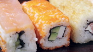 Fresh Japanese sushi and rolls Stock Footage