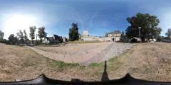360VR video, at entrance of Castle Bentheim in Bad Bentheim Stock Footage