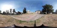 360VR video, at entrance of Castle Bentheim in Bad Bentheim Stock Footage