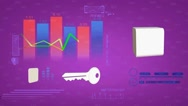 Chart - Economy - Cyberspace - Digital Numbers - Stock - Front View - Pink Stock Footage