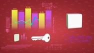 Chart - Economy - Cyberspace - Digital Numbers - Stock - Front View - Red Stock Footage
