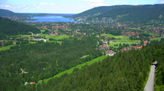 Aerial pan of Tegernsee Stock Footage