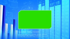 Green Center - Blueprint Background -chart - numbers in grid - blue Stock Footage