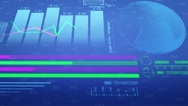 Chart - Economy - Cyberspace - Digital Numbers - Stock - Bottom Zoom - Blue Stock Footage