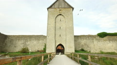 Visby medieval citywall during morning on the island Gotland in Sweden Stock Footage