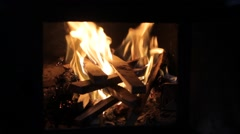 Hot flame of fire in oven Stock Footage