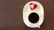 Coffee with cream heart form. Valentine Day. breakfast Stock Footage