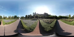 360VR video, Garden of Castle Bentheim with fountain and flowerfield Stock Footage