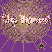 Happy Halloween spiderweb and spider Stock Illustration