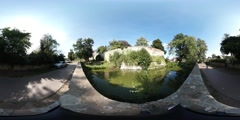 360VR video, Castle wall of Castle Bentheim Stock Footage