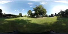 360VR video, Grassfield behind Castle Bentheim Stock Footage