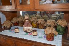Home harvesting vegetables in jars Stock Photos