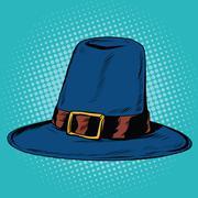 Vintage hat pilgrim Stock Illustration