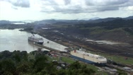 Panama Canal Pacific Side, Early construction of Canal Expansion Stock Footage