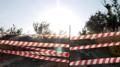 Striped Caution Barrier the Toll Road, Which is Blocked Stock Footage