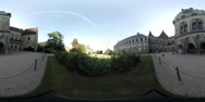 360VR video, inside the garden of Castle Bentheim Stock Footage