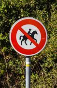 Forbidden entry to equestrians Stock Photos